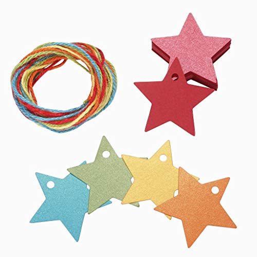 (150ct Colorful Paper Gift Wrap Tags with String Star Shape for All Occasion Wedding Favors Kid Christmas Thank You Birthday)