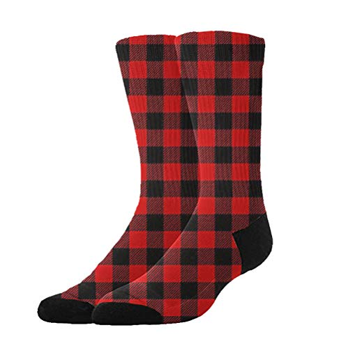 (KYWYN 3D Red Buffalo Plaid Compression Socks for Women Men, Fit for Running, Athletic Sports, Crossfit, Flight, Travel, Pregnancy, Nurses (20-30 mmHg))