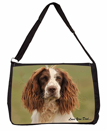 Springer Spaniel Love You Dad Large 16 Black School Laptop Shoulder Bag