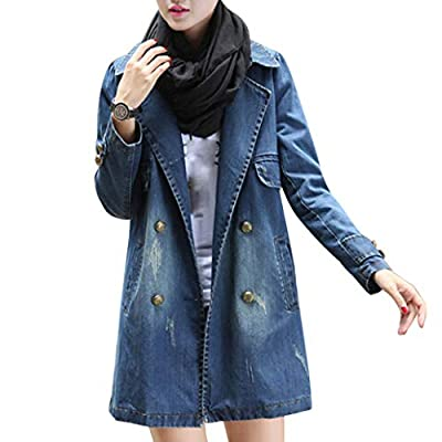 Classic Women Casual Long Sleeve Denim Jacket Long Denim Coat Outwear Overcoat