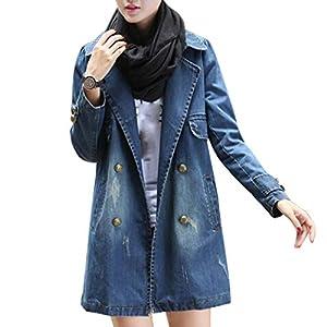 Kulywon Women Fashion Casual Long Sleeve Denim Jacket Long Jean Coat Outwear Overcoat