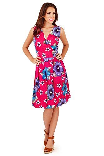 ti Floral Crossover Short Dress Pink (D640) - Medium ()