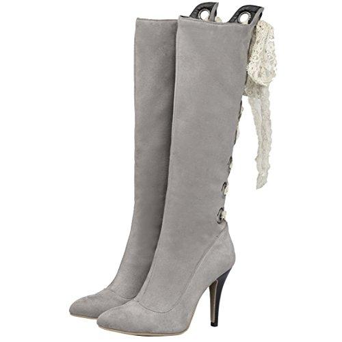 AIYOUMEI Damen Spitz Zehen Kniehohe Stiefel mit 10cm Absatz und Spitzenbänder Stiletto High Heels Elegant Winter Stiefel Grau