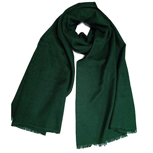 YAOYUE-US Luxurious Large Thick Solid Color Scarves Shawl Soft Pashmina Mulberry Silk Blended Velvet Wrap For Womens (Dark Green)