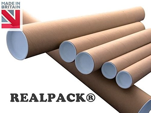 REALPACK® Postal Tube Cardboard with Plastic End Caps - 3'' line-size: 330mm (50) REALPACK®