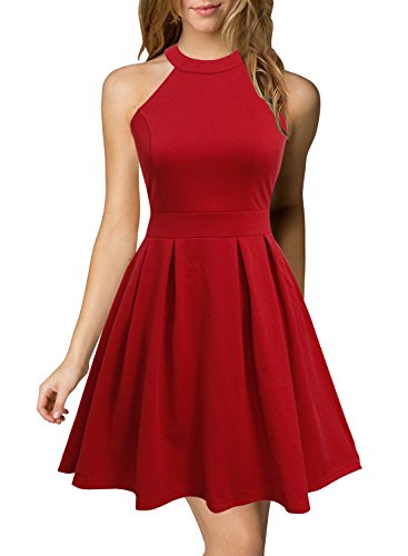 Berydress Women's Halter Neck Backless Red Cocktail Party Dress (US6, 6019_Red)