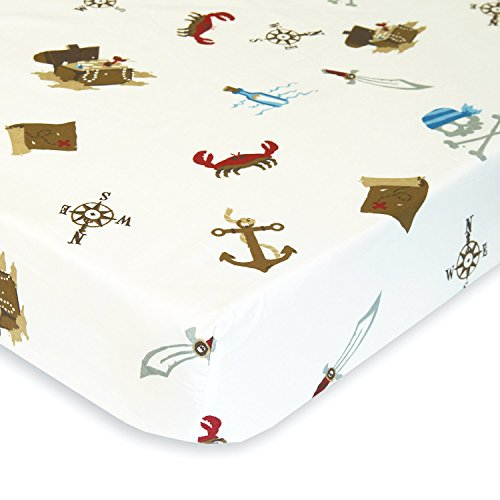 [Nautical Pirates Under the Sea - Cotton Polyester Fitted Crib Sheet - Soft Nursery Bedding for Boys / Girls - TOP QUALITY Infant & Toddler Bed Sheets for Christmas and Baby Shower Gift by Cuddly] (Pirate Cost)
