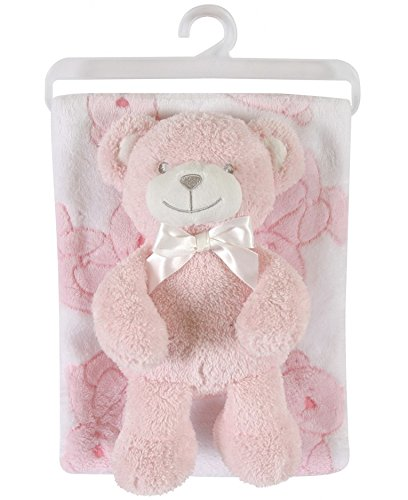-Go Plush Pot-Bellied Bear and Plush Blanket Set, Pink (Soft Teddy Bear Terry)