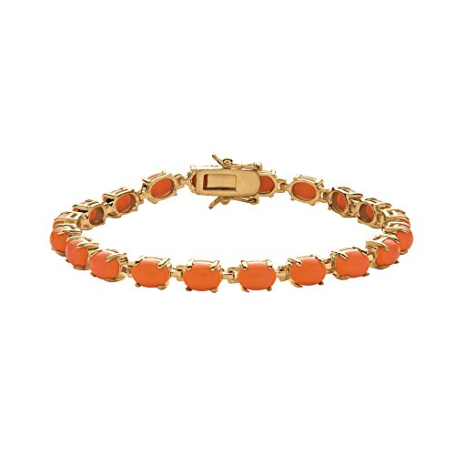 (Oval-Cut Simulated Orange Coral 14k Gold-Plated Cabochon Tennis Bracelet)
