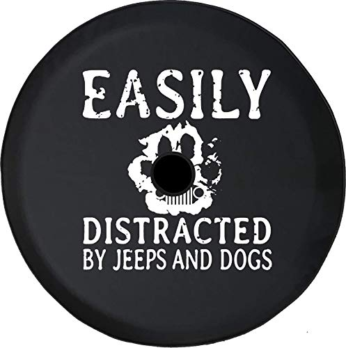 - Pike Outdoors JL Series Spare Tire Cover Backup Camera Hole Easily Distracted Jeeps Dogs Paw Print Black 32 in