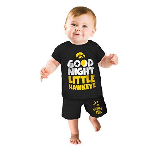 NCAA Iowa Hawkeyes Boys Short Pajama Set, 3-6 Months, Black (Iowa Hawkeye Baby Clothes)