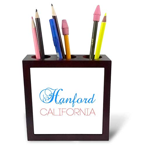3dRose Alexis Design - American Cities California - Hanford, California, red, Blue Text. Patriotic Home Town Design - 5 inch Tile Pen Holder (ph_302746_1)