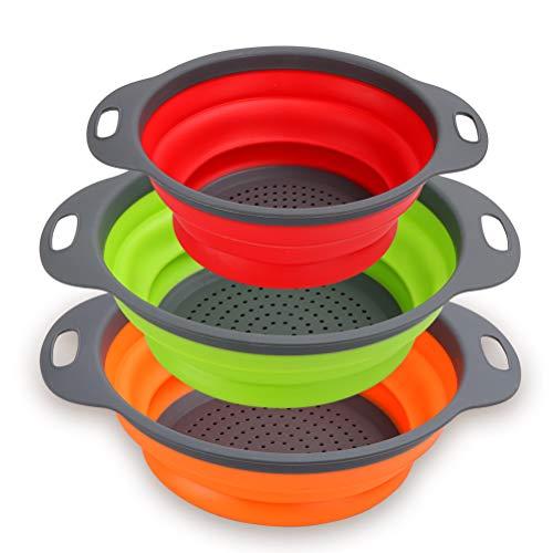 Collapsible Colander Set of 3 - Silicone Kitchen Strainers with Plastic Handles - 4 Quart & 2 Quart Sink Colander for Draining Pasta, Vegetables, Fruits (Blue, Orange, Red) ()