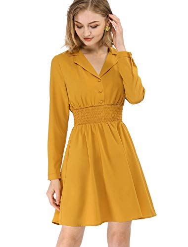 Allegra K Women's Notched Lapel Buttons Stretchy Smocked Waist Vintage A-Line Dress M Yellow
