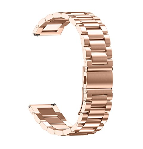 ANMU Stainless Steel Metal Watch Band for HUAWEI watch,18mm watch band for whithings Activite / Steel / Pop watch,Quick Release Replacement Watch Strap for Mens Womens Sport Watchbands-18mm rose gold (18 Mm Watch Bands Rose Gold)