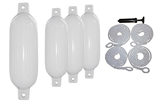 4 Boat Fender 6.5 x 23 Vinyl Bumper Dock Shield Protection White, Includes 4 Fender Lines 7' Long