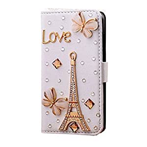 KINGEAR Handmade 3D Bling PU Leather Wallet Rhinestone Design Diamond Case Cover for Apple Iphone 5C