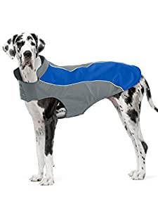 "Kakadu Pet Nylon Shell And Fleece Lined Dog Coat With Reflective Stripe, Extra Large 30"", Sea (Blue)"