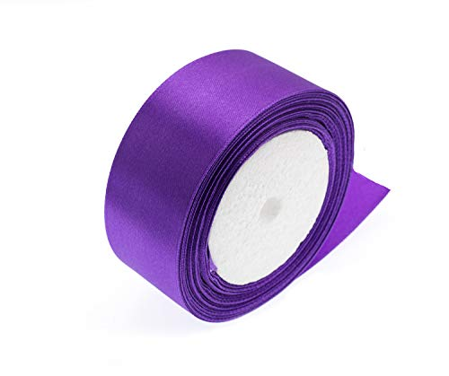 ATRibbons 50 Yards 1-1/2 inch Wide Satin Ribbon Perfect for Wedding,Handmade Bows and Gift Wrapping,25 Yards/Roll x 2 Rolls (Purple)