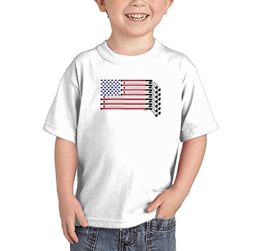 HAASE UNLIMITED American Flag - Hockey Sticks Pucks Infant/Toddler Cotton Jersey T-Shirt (White, 4T)