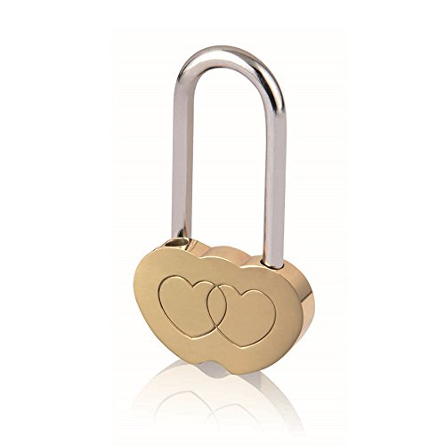 Double Heart Shaped Lock Love Engraved Padlock Valentines Anniversary Day Gifts Blessing No Key
