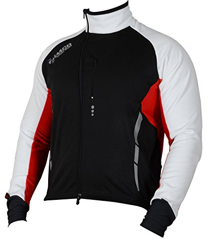 (Zimco Pro Men Winter Cycling Jackets High Viz Bicycle Jersey Windproof Thermal Insulated Jacket (2XL, Black-White-Red))