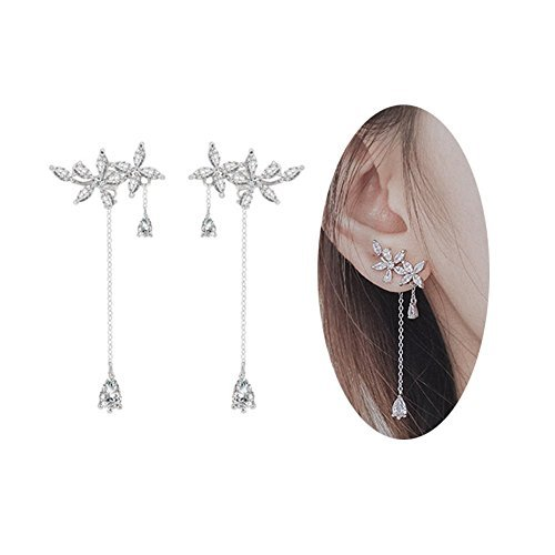 MVCOLEDY 925 Sterling Silver Leaves Wrap Earrings Crawler for Women Dainty Flowers Threader Tassel Chain