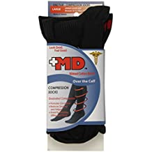 MD USA Ribbed Cotton Blend Compression Socks, Over the Calf, Black, Large