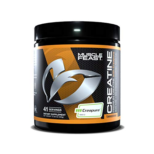 Muscle Feast Creapure Creatine Monohydrate Powder, Premium Pre-Workout or Post-Workout, Easy to Mix, Gluten-Free, Safe and Pure, Kosher Certified (300g, Tangerine)