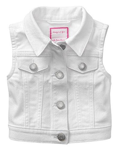White Kids Vest - Gymboree Little Girls' Denim Vest, White, L