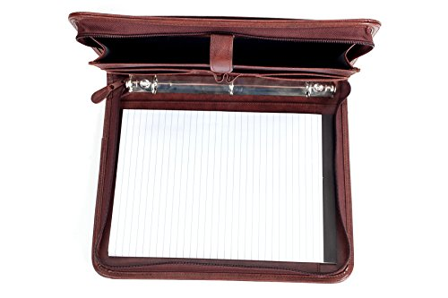 Professional Business Padfolio Portfolio Briefcase Style Organizer Folder With Handles Notepad and 3 Ring Binder - Brown Synthetic Leather... Photo #5
