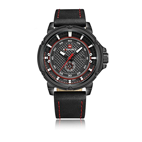 Men's Fashionable Multifunctional quartz Unique Black Leather-Synthetic Comfortable Strap Black Dial Big Round Face Classy Outdoor Watch Japanese - For Face Best Specs Round