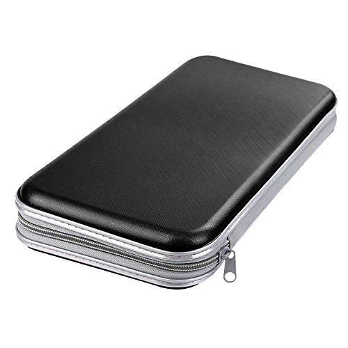 Jinberry 80 Capacity Portable Plastic Disc CD/VCD/DVD Storage Case Wallets with Booklets / Disc Organizer Bags - Black - Revolving Library