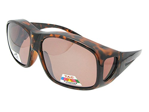 Glass Shiny Tortoise Amber (Style F19 Largest Polarized Fit Over Sunglasses With Sunglass Rage Pouch (Shiny Tortoise-Amber Lens, 2 3/4))