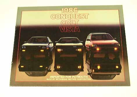 1986 86 PLYMOUTH IMPORTS BROCHURE Colt Vista Conquest by Mitsubishi