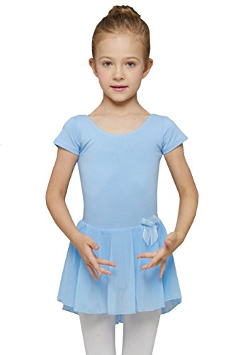 Mdnmd Girls' Skirted Short Sleeve Leotard (Tag11) Age 2T - 4T, Blue