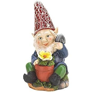 Eastwind Gifts 10016216 Gardening Gnome Solar Garden Statue