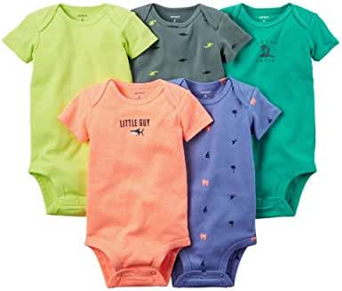 Carter's Baby Boys' 5 Pack Bodysuits (Baby) - Bright Solid 6M
