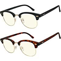 Computer Glasses 2 Pairs Anti Glare Anti Reflection Clubmaster Computer Reading Glasses Comfort for Men and Women