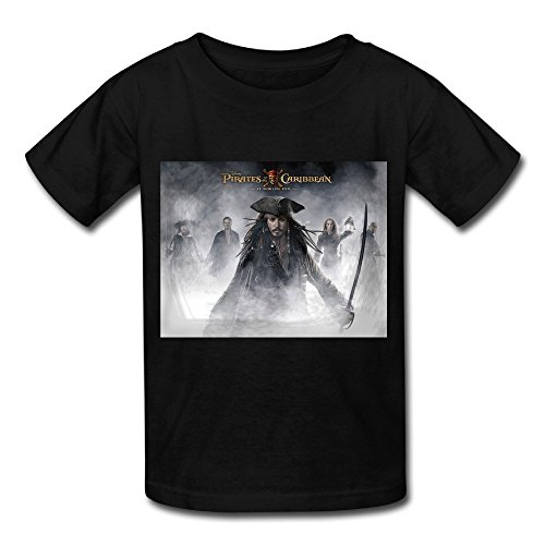 SP Jack Sparrow Pirates Of The Caribbean Big Boys & Girls Cotton T Shirt Black M (Pirate Clothing For Sale)