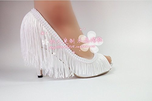 Heel Sandals Mouth Tassel Wedding Sexy White High Shallow Prom Foot Satin 8 Sweet Pearl Set Toe Princess Shoe Big Photography Shoes Bridal VIVIOO Peep 5YxwUqZY