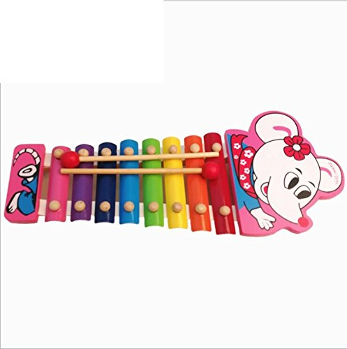 Polymer Musical Toys Wooden Xylophone Piano Wooden Hand Knock Xylophone for Baby Learning Music( White Mouse) by Polymer