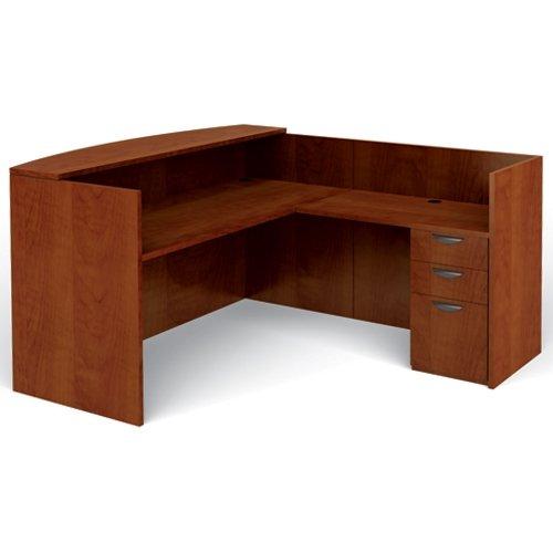 "Offices To Go OTGLAYOUTJADCL Reception Desk Center, Desk, Return, File, 42""H x 78-3/4""W x 71""L, American Dark Cherry"