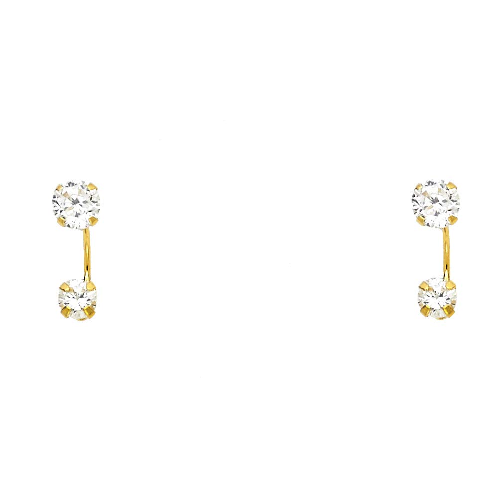 14K Yellow Gold White OR Pink OR Red CZ Round Cut Solitaire Stud Earrings Ioka