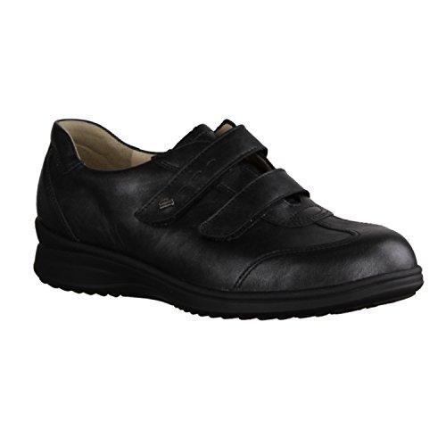 Finn Comfort Sossano - Zapatos cómodos / relleno suelto Zapatos mujer Cómodo Bailarina / Mocasines, Negro, cuero (lujo) negro