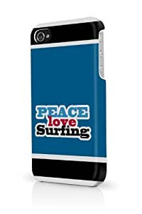 Blue Peace Love Surfing iPhone 5 & 5S - Fits iPhone 5 & 5S Full Print Plastic Snap On Case