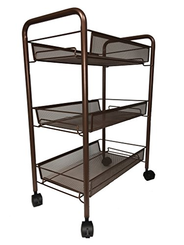 (BonBon 3-Tier Wire Mesh Rolling Cart for Serving Utility Organization Kitchen Cart with Portable Metal Handle Easy Moving Flexible Wheels - Bronze)