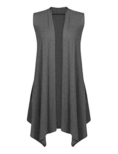 - Women Sleeveless Waterfall Jersey Cardigan Lightweight Draped Layering Vest Dark Gray M