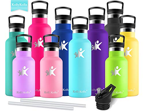 KollyKolla Vacuum Insulated Water Bottle Metal Water Bottles with Straw & Filter Hot & Cold Drinks Bottle Stainless Steel Thermoflask Leakproof Kids for Gym,Cycling,Football,(600ml Sky Blue)