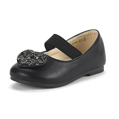 DREAM PAIRS Toddler Tiana-02 Black Pu Girl's Mary Jane Ballerina Flat Shoes Size 7 M US - Janes Mary 05